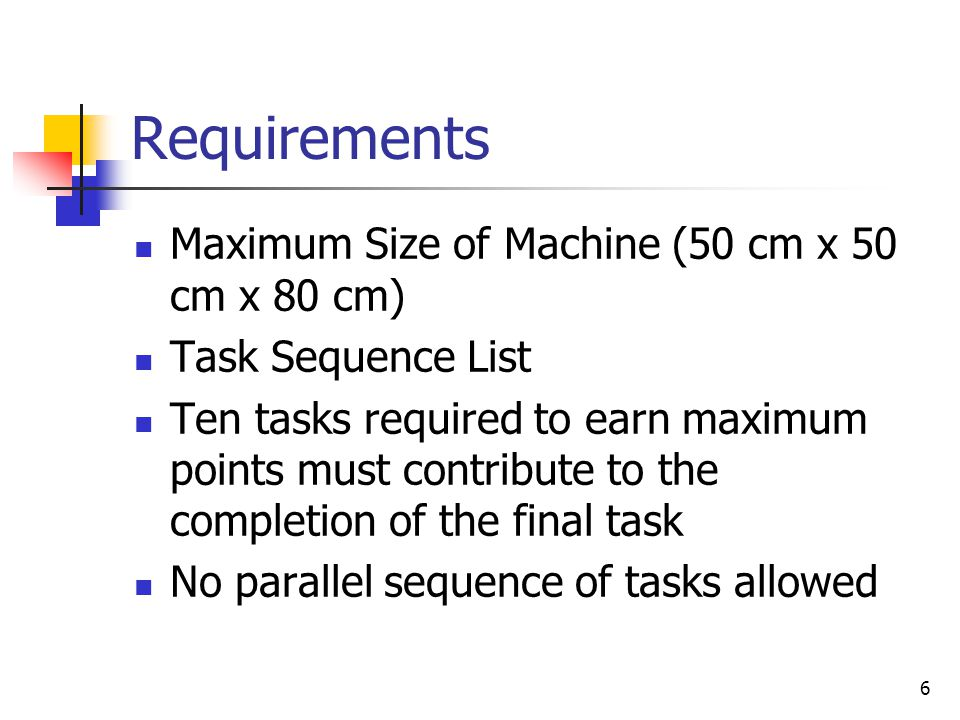 Requirements – Start Task – Task A Device must be started by: dropping a golf ball from above the device that will trigger a mousetrap that will begin the chain of events leading to the final task 7