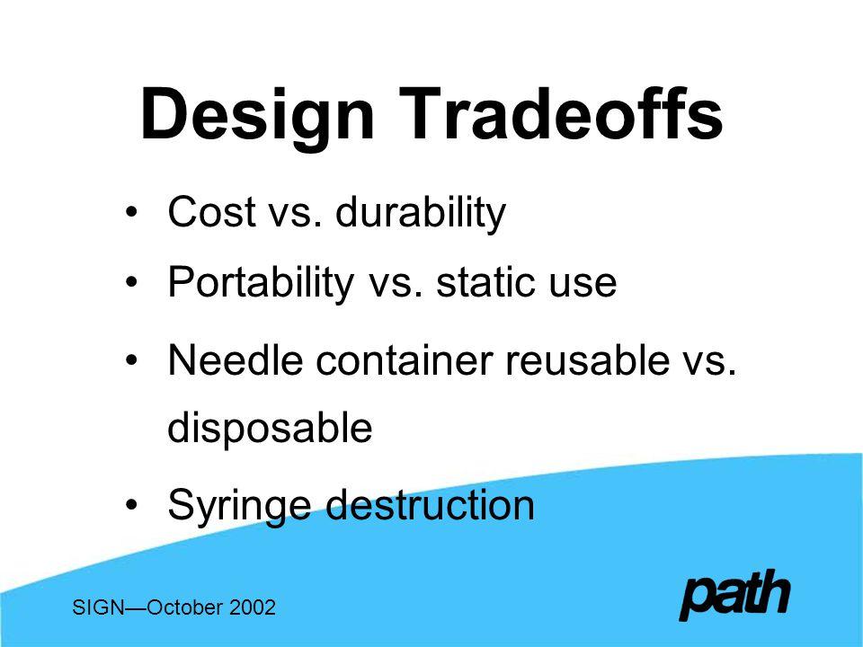 Design Tradeoffs Cost vs. durability Portability vs.