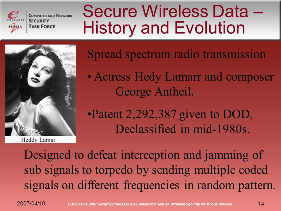 2007/04/10 EDUCAUSE 2007 Security Professionals Conference Sem 2A Wireless Security for Mobile Devices 14 Secure Wireless Data – History and Evolution Spread spectrum radio transmission Actress Hedy Lamarr and composer George Antheil.