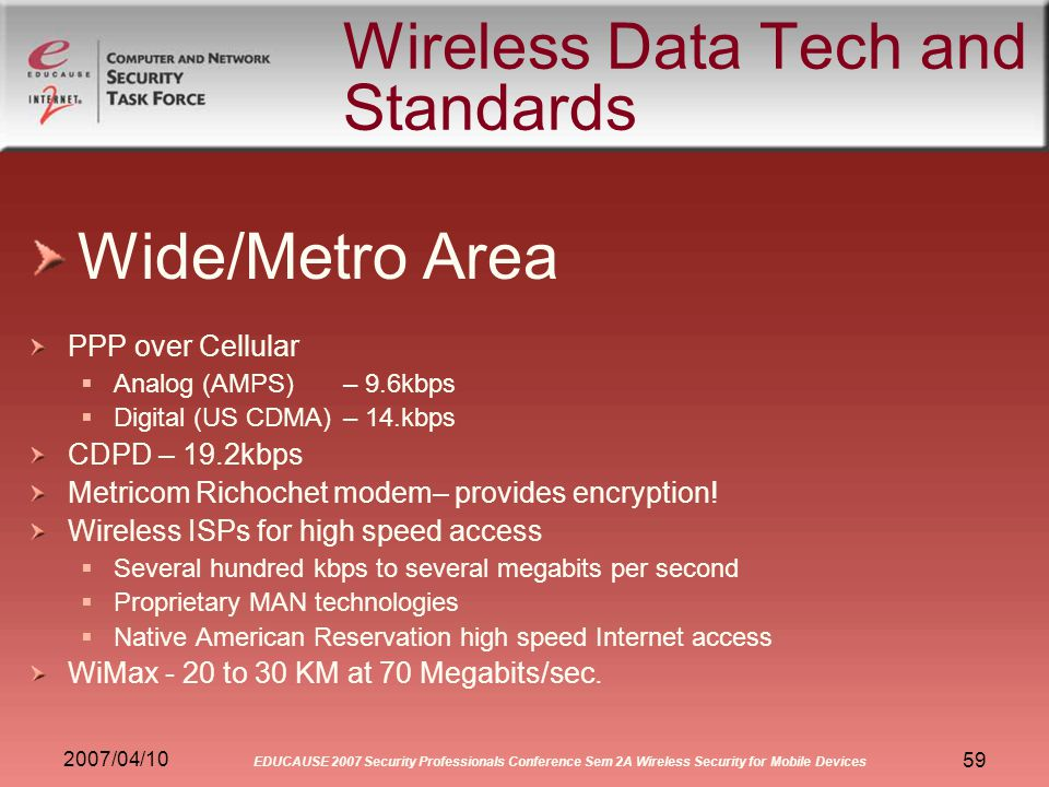 2007/04/10 EDUCAUSE 2007 Security Professionals Conference Sem 2A Wireless Security for Mobile Devices 59 Wireless Data Tech and Standards Wide/Metro Area PPP over Cellular Analog (AMPS) – 9.6kbps Digital (US CDMA)– 14.kbps CDPD – 19.2kbps Metricom Richochet modem– provides encryption.