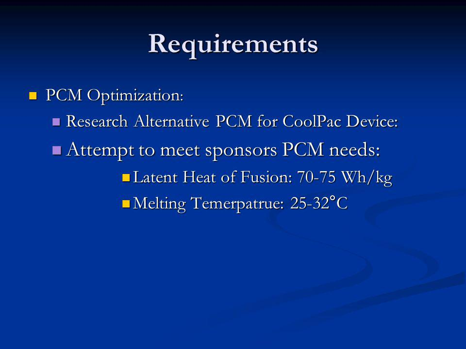Requirements PCM Optimization : PCM Optimization : Research Alternative PCM for CoolPac Device: Research Alternative PCM for CoolPac Device: Attempt t