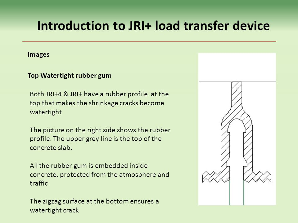 Both JRI+4 & JRI+ have a rubber profile at the top that makes the shrinkage cracks become watertight The picture on the right side shows the rubber profile.