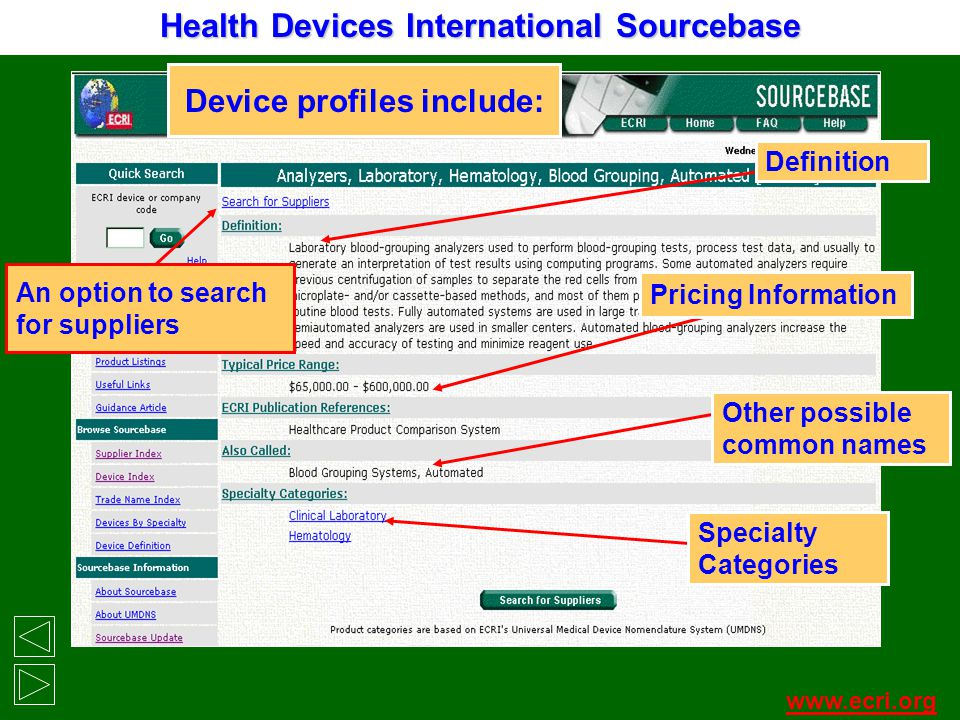 Device profiles include: An option to search for suppliers Definition Pricing Information Other possible common names www.ecri.org Health Devices Inte