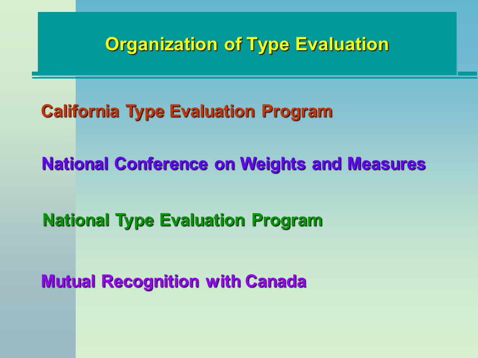 Organization of Type Evaluation National Type Evaluation Program California Type Evaluation Program Mutual Recognition with Canada National Conference on Weights and Measures