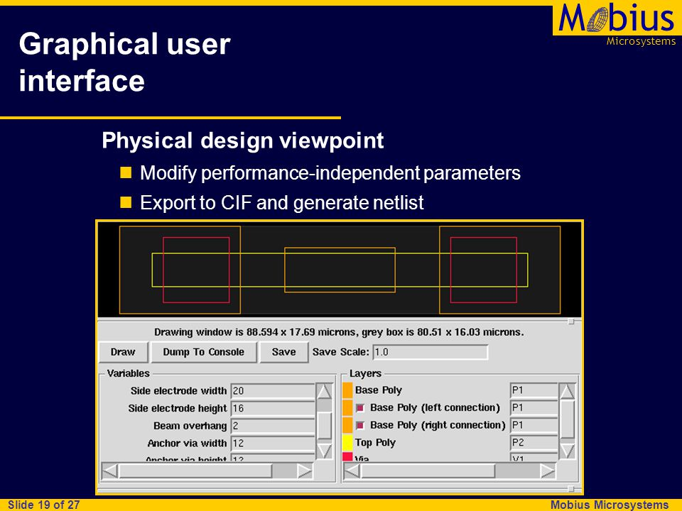 Microsystems Mbius Mobius Microsystems Slide 19 of 27 Graphical user interface Physical design viewpoint Modify performance-independent parameters Exp