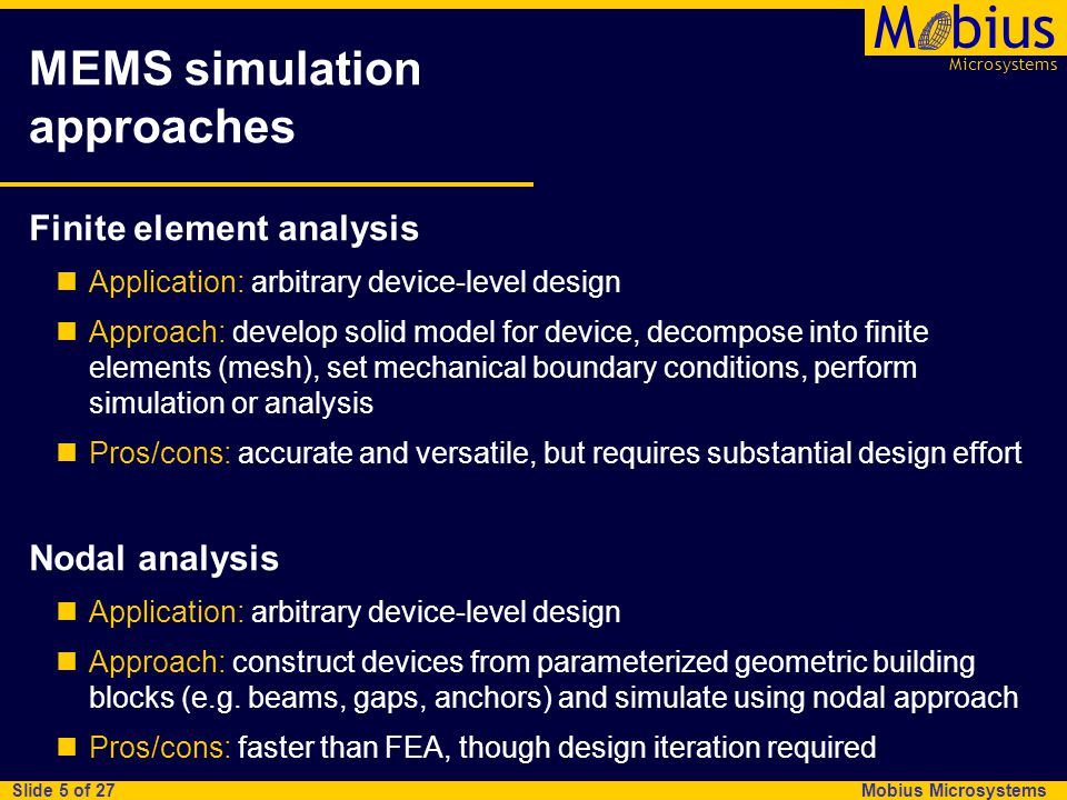 Mobius Microsystems Microsystems Mbius Slide 16 of 27 Tool framework