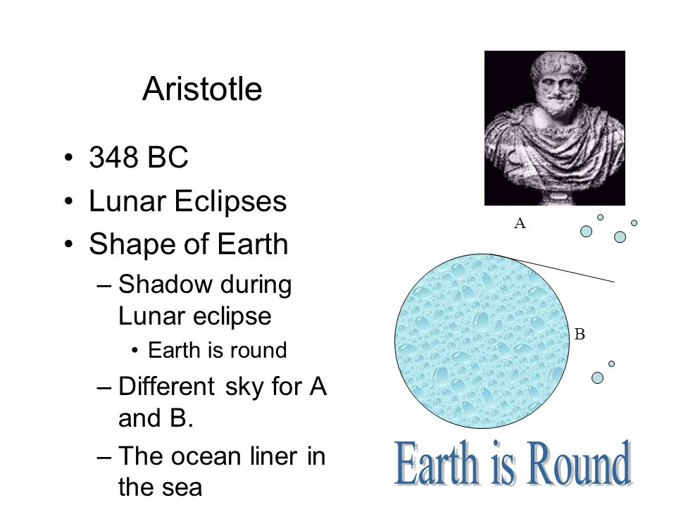 Aristotle 348 BC Lunar Eclipses Shape of Earth –Shadow during Lunar eclipse Earth is round –Different sky for A and B. –The ocean liner in the sea A B