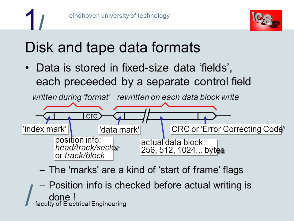1/1/ / faculty of Electrical Engineering eindhoven university of technology Disk and tape data formats Data is stored in fixed-size data fields, each preceeded by a separate control field crc index mark data mark position info: head/track/sector or track/block position info: head/track/sector or track/block actual data block: 256, 512, 1024...