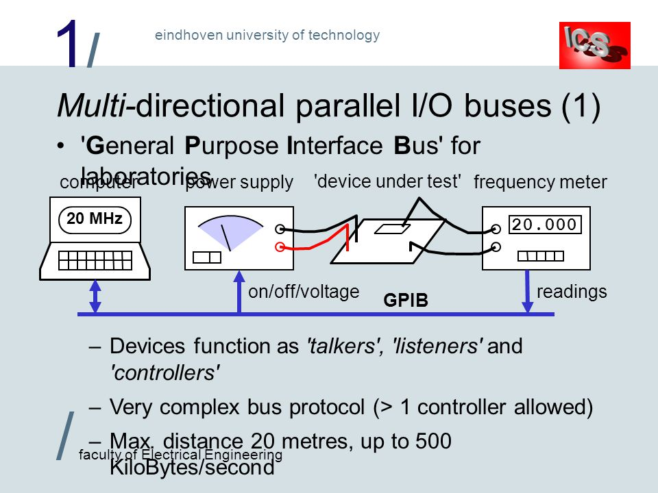 1/1/ / faculty of Electrical Engineering eindhoven university of technology power supplyfrequency metercomputer Multi-directional parallel I/O buses (1) General Purpose Interface Bus for laboratories –Devices function as talkers , listeners and controllers –Very complex bus protocol (> 1 controller allowed) –Max.
