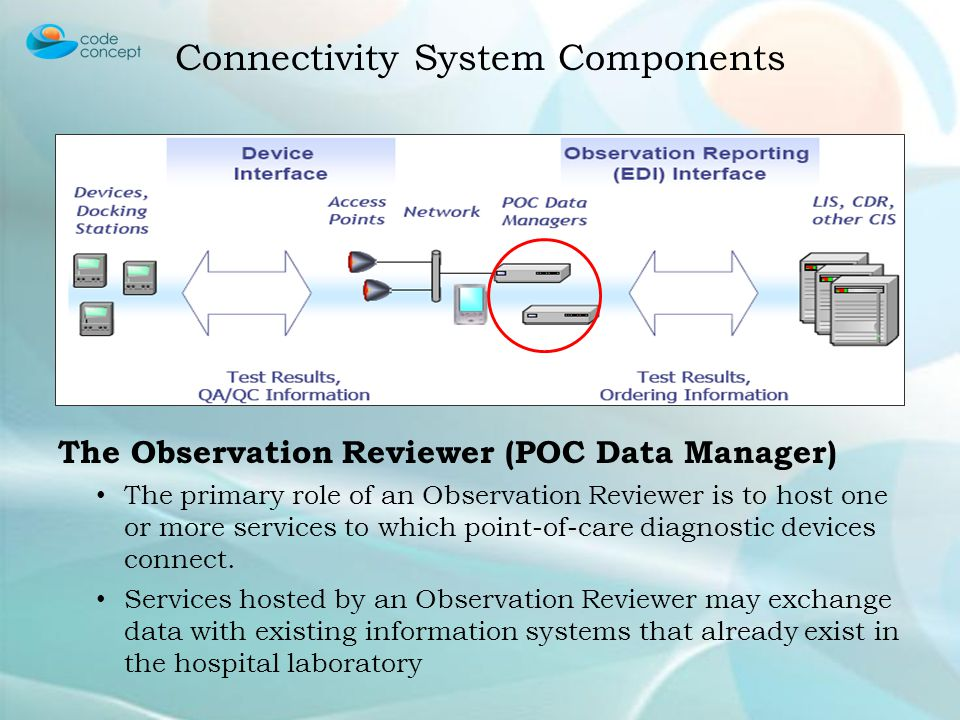 The Observation Reviewer (POC Data Manager) The primary role of an Observation Reviewer is to host one or more services to which point-of-care diagnos