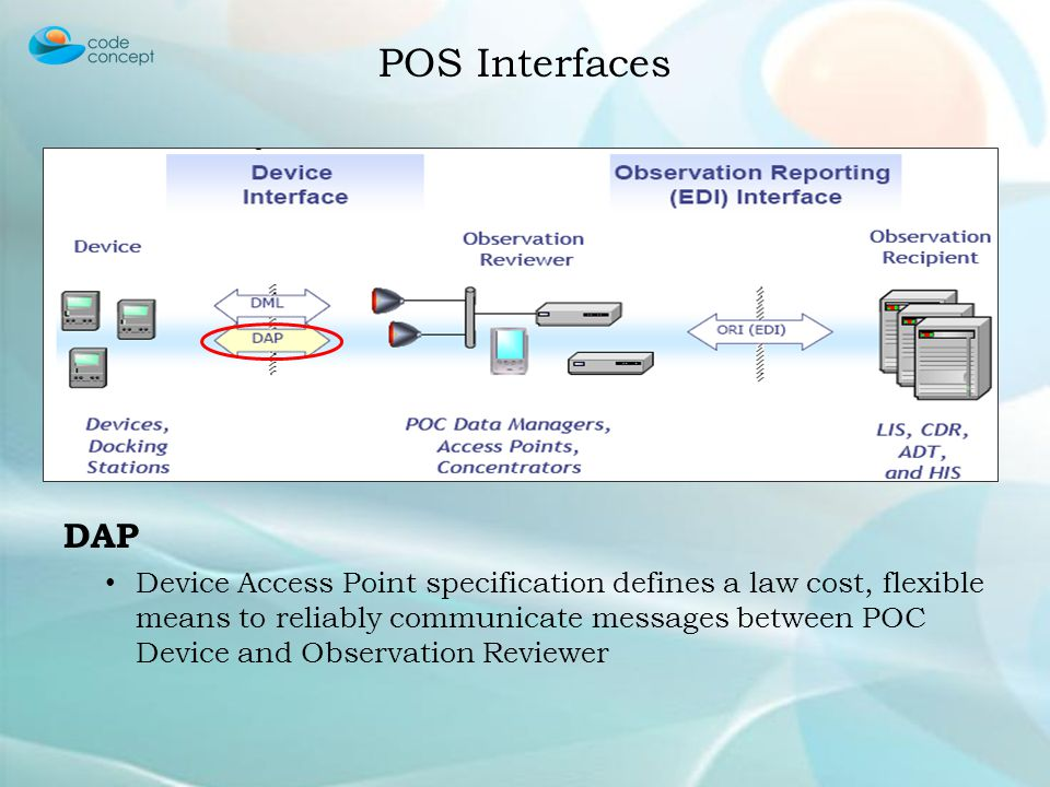 DAP Device Access Point specification defines a law cost, flexible means to reliably communicate messages between POC Device and Observation Reviewer