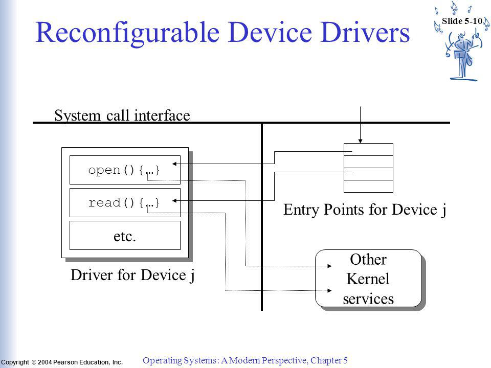 Slide 5-10 Copyright © 2004 Pearson Education, Inc. Operating Systems: A Modern Perspective, Chapter 5 Reconfigurable Device Drivers Other Kernel serv