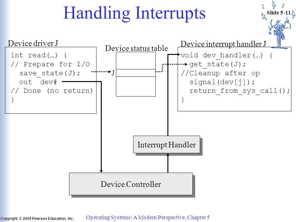 Slide 5-11 Copyright © 2004 Pearson Education, Inc. Operating Systems: A Modern Perspective, Chapter 5 Handling Interrupts int read(…) { // Prepare fo