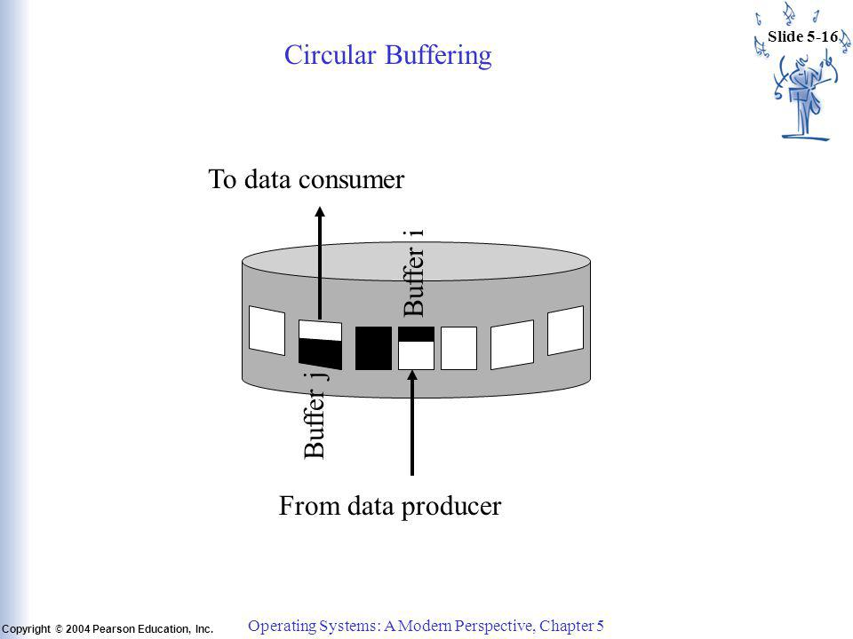 Slide 5-16 Copyright © 2004 Pearson Education, Inc. Operating Systems: A Modern Perspective, Chapter 5 Circular Buffering From data producer To data c