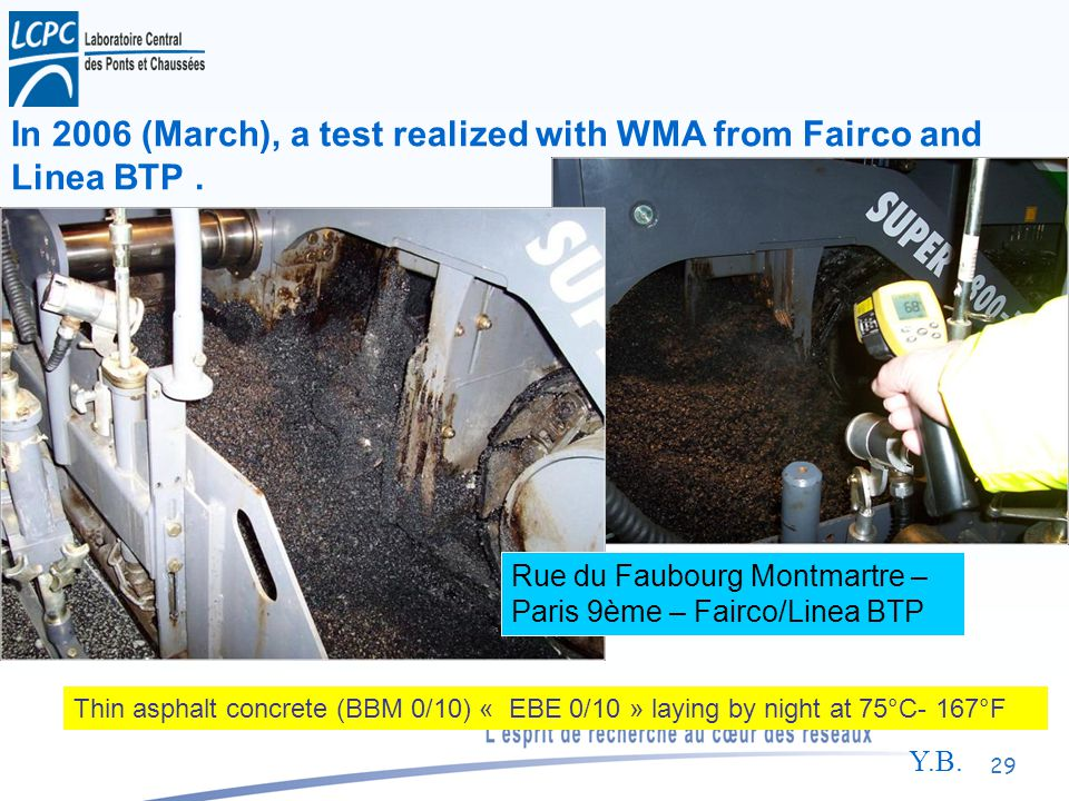 Y.B. 29 In 2006 (March), a test realized with WMA from Fairco and Linea BTP.