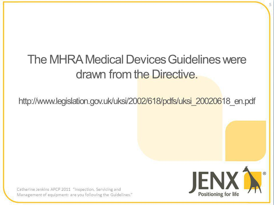 The MHRA Medical Devices Guidelines were drawn from the Directive.