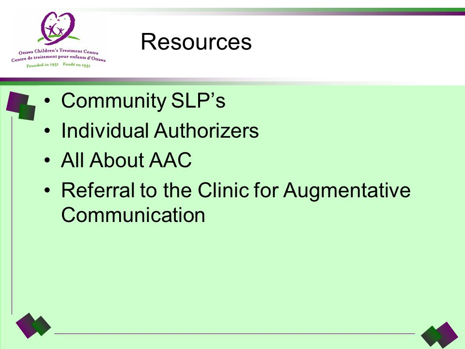Resources Community SLPs Individual Authorizers All About AAC Referral to the Clinic for Augmentative Communication