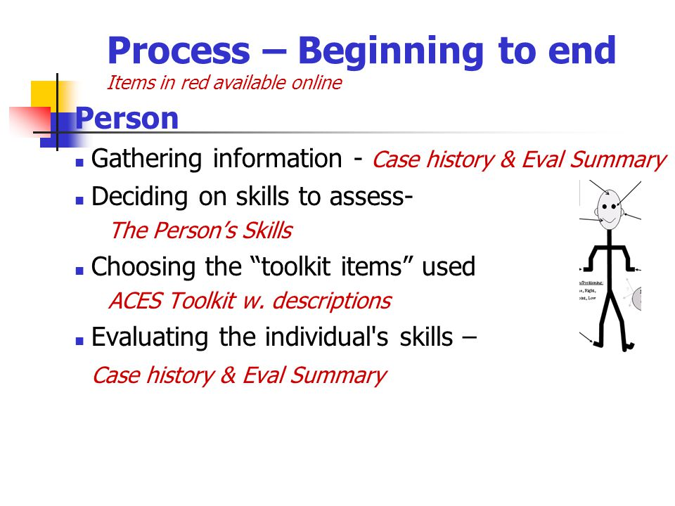Process – Beginning to end Items in red available online Person Gathering information - Case history & Eval Summary Deciding on skills to assess- The Persons Skills Choosing the toolkit items used ACES Toolkit w.
