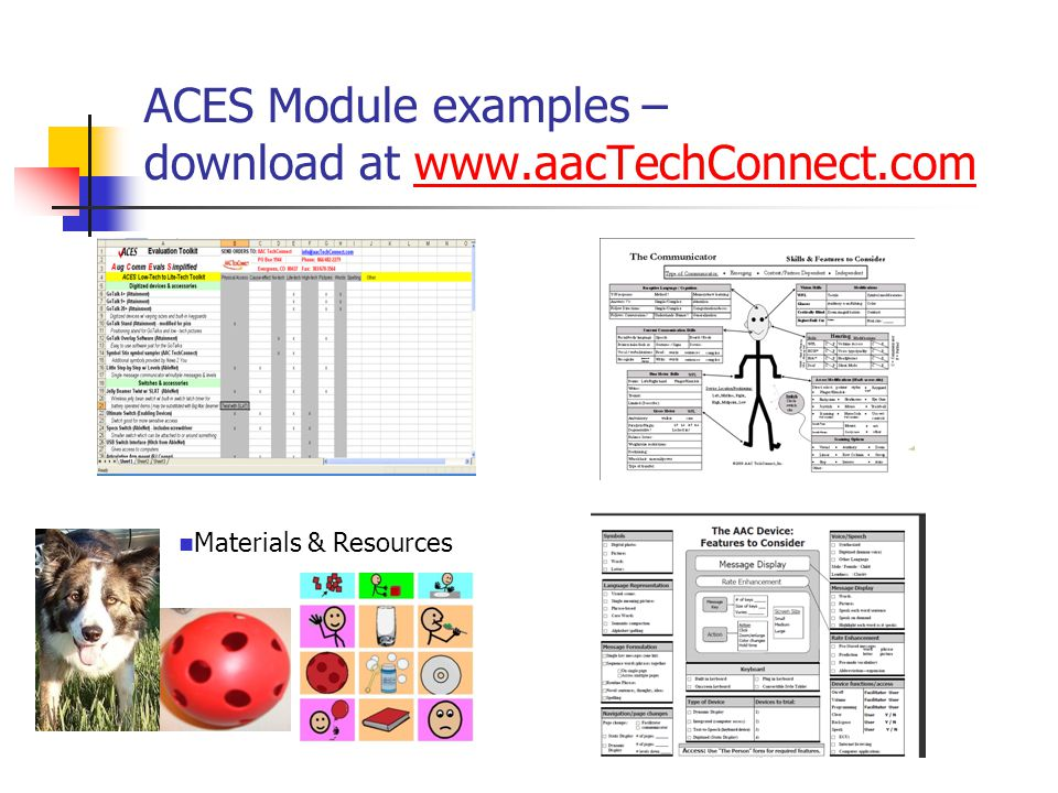 ACES Module examples – download at www.aacTechConnect.comwww.aacTechConnect.com Use sample communication boards with progressing levels of complexity to determine: Use of concrete vs.