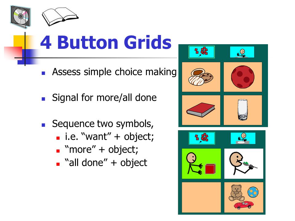 4 Button Grids Assess simple choice making Signal for more/all done Sequence two symbols, i.e.