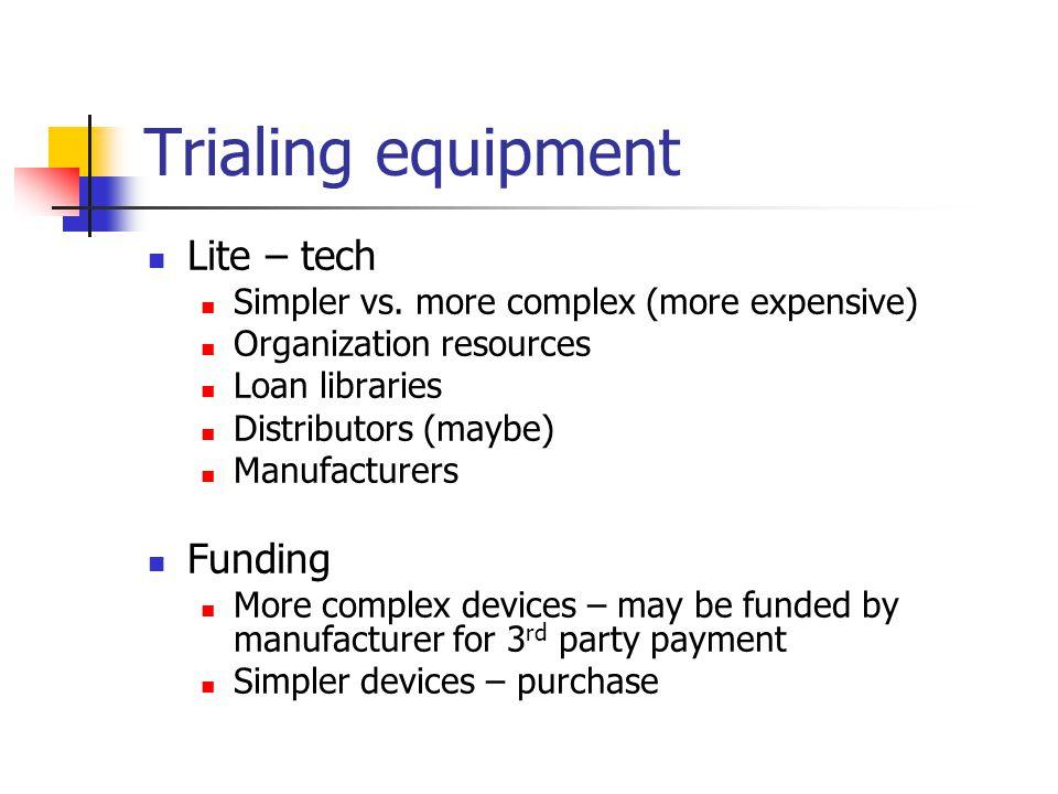 Trialing equipment Lite – tech Simpler vs.