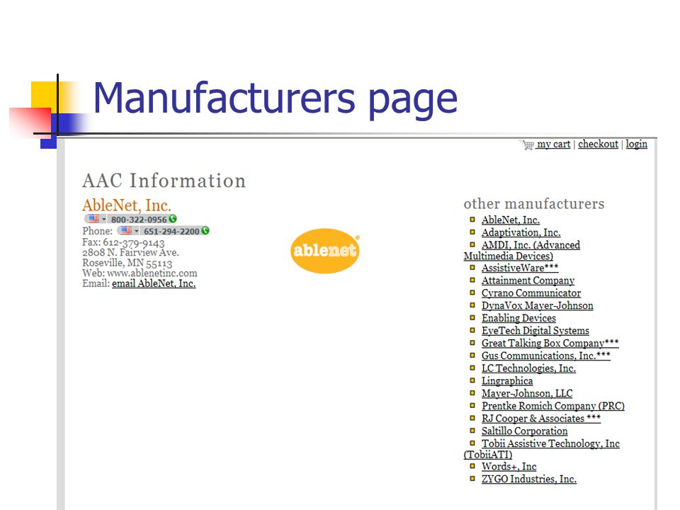 Manufacturers page