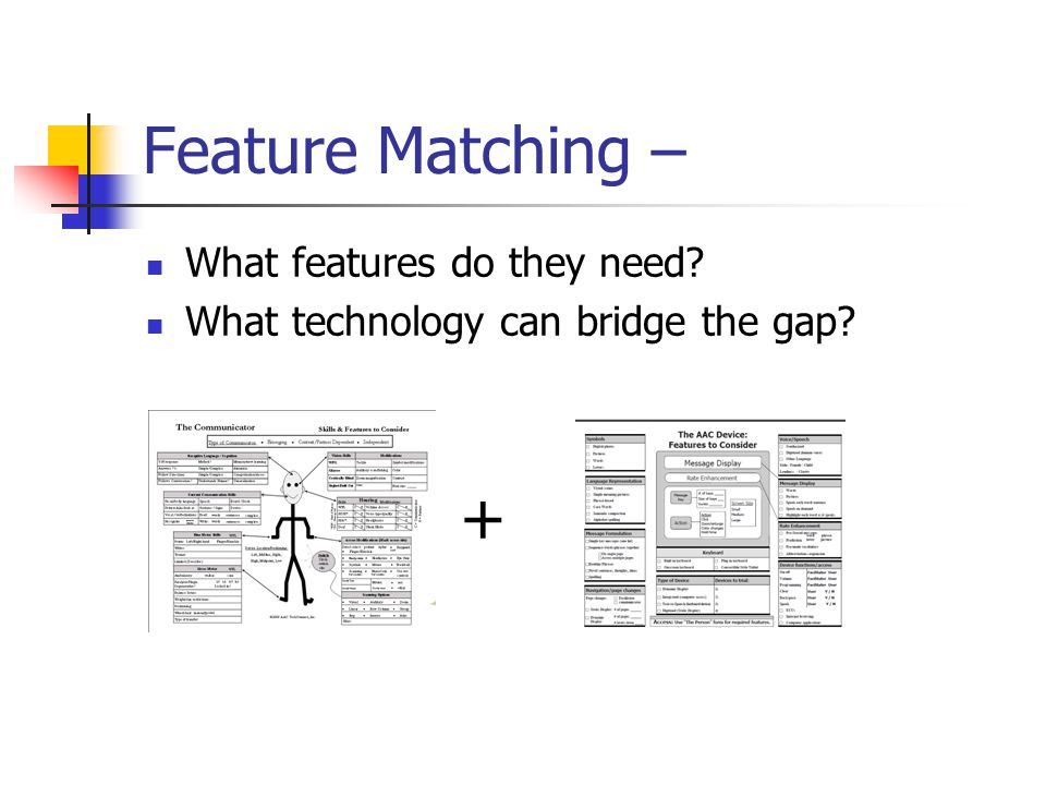 Feature Matching – What features do they need What technology can bridge the gap +