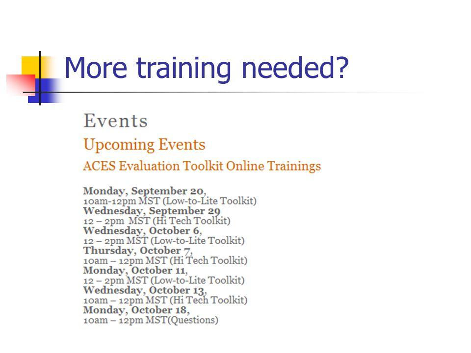 More training needed