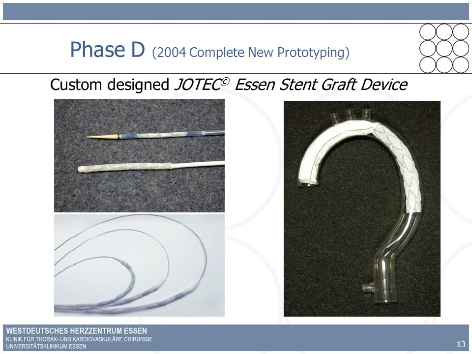 13 Phase D (2004 Complete New Prototyping) Custom designed JOTEC © Essen Stent Graft Device