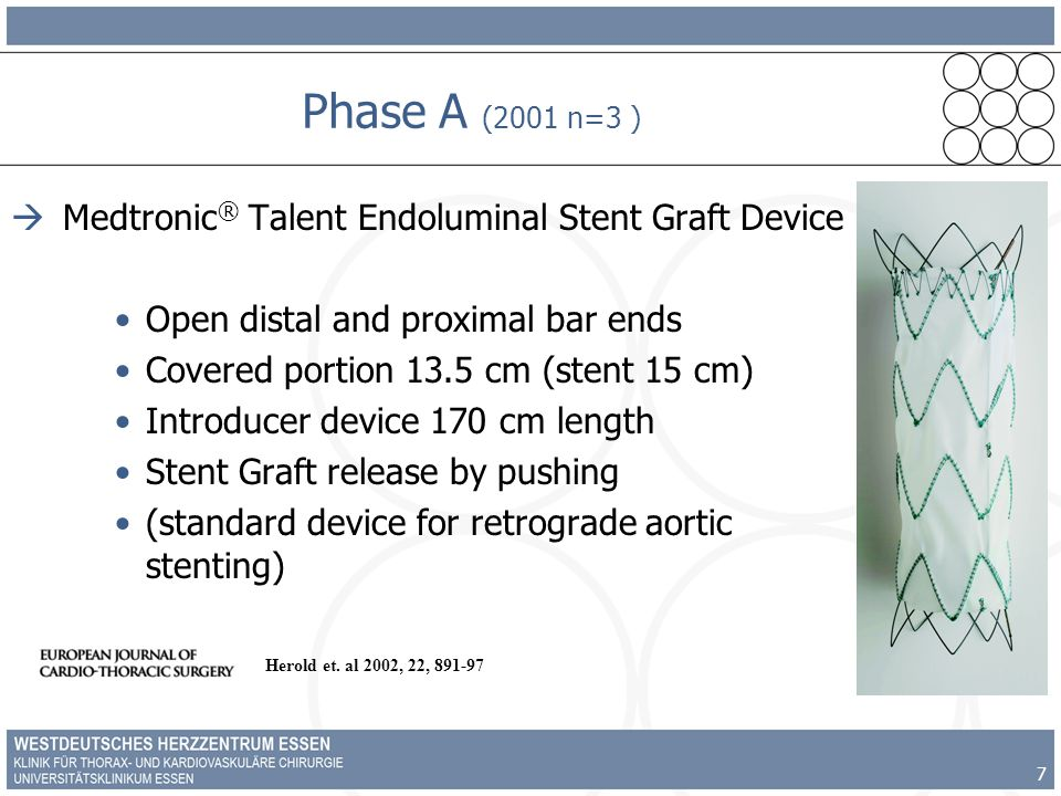 7 Phase A (2001 n=3 ) Medtronic ® Talent Endoluminal Stent Graft Device Open distal and proximal bar ends Covered portion 13.5 cm (stent 15 cm) Introducer device 170 cm length Stent Graft release by pushing (standard device for retrograde aortic stenting) Herold et.