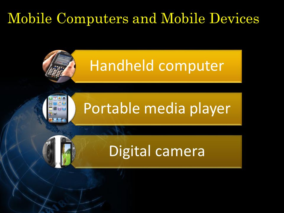 Mobile Computers and Mobile Devices Handheld computer Portable media player Digital camera 22