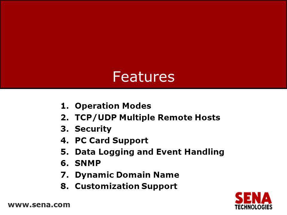www.sena.com 19 SSL Encryption: Connection Run SSL or TLS client application –openssl s_client –connect 192.168.0.2:6001 –ssl3