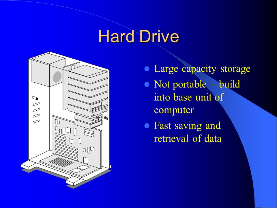 Hard Drive Large capacity storage Not portable – build into base unit of computer Fast saving and retrieval of data