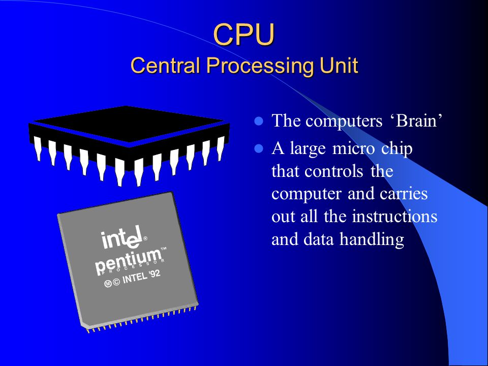 CPU Central Processing Unit The computers Brain A large micro chip that controls the computer and carries out all the instructions and data handling