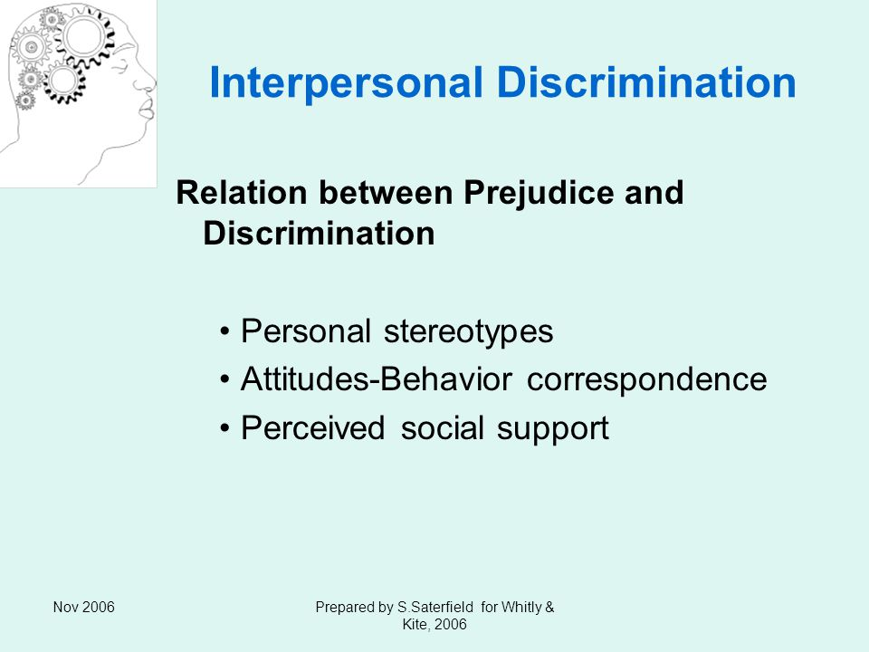 Nov 2006Prepared by S.Saterfield for Whitly & Kite, 2006 Interpersonal Discrimination Relation between Prejudice and Discrimination Personal stereotypes Attitudes-Behavior correspondence Perceived social support