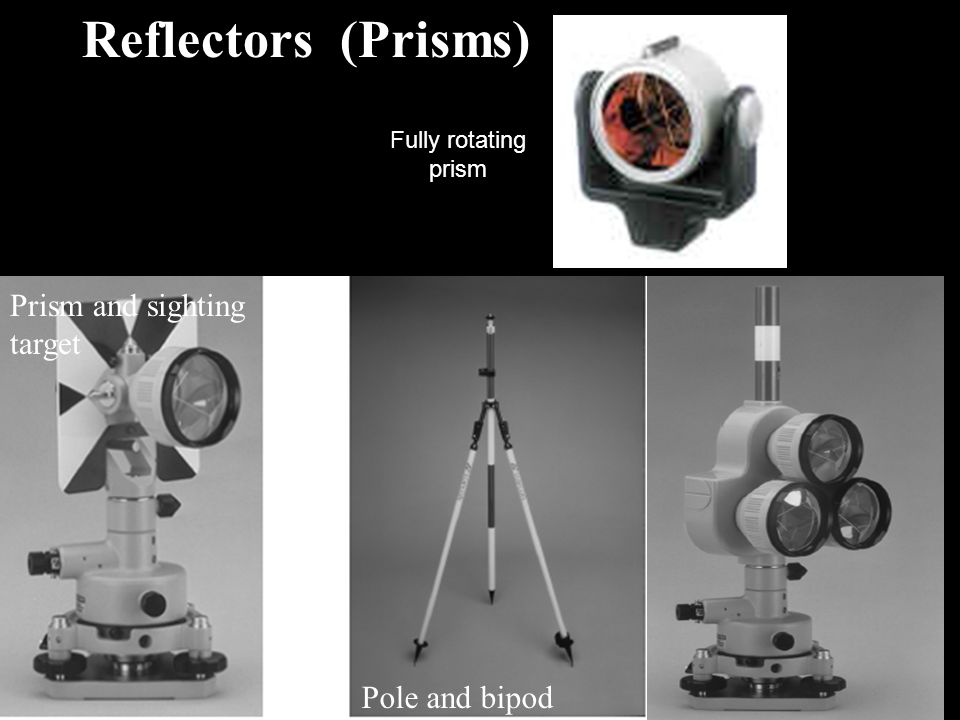 Reflectors (Prisms) Pole and bipod Prism and sighting target Fully rotating prism