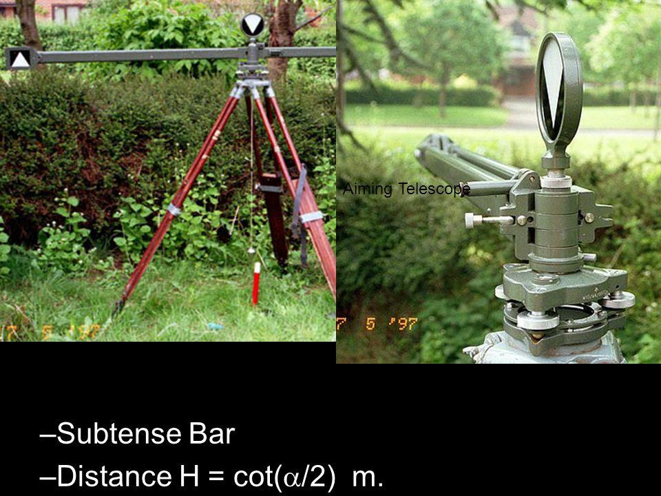 –Subtense Bar –Distance H = cot( /2) m. Aiming Telescope