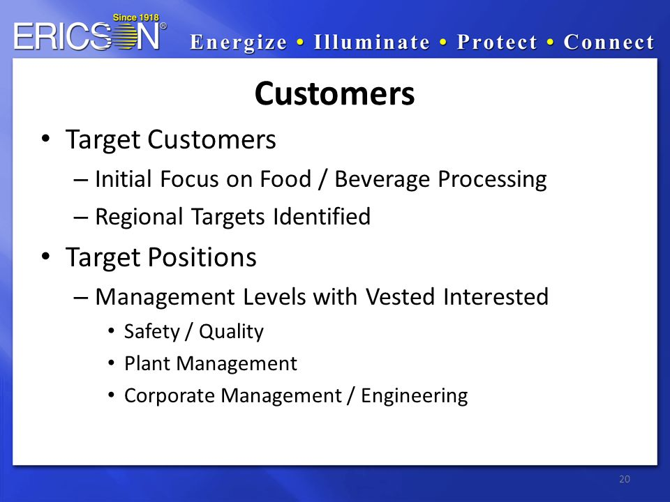 20 Customers Target Customers – Initial Focus on Food / Beverage Processing – Regional Targets Identified Target Positions – Management Levels with Ve