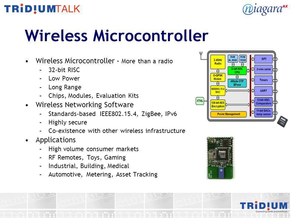 Wireless Microcontroller Wireless Microcontroller – More than a radio –32-bit RISC –Low Power –Long Range –Chips, Modules, Evaluation Kits Wireless Ne
