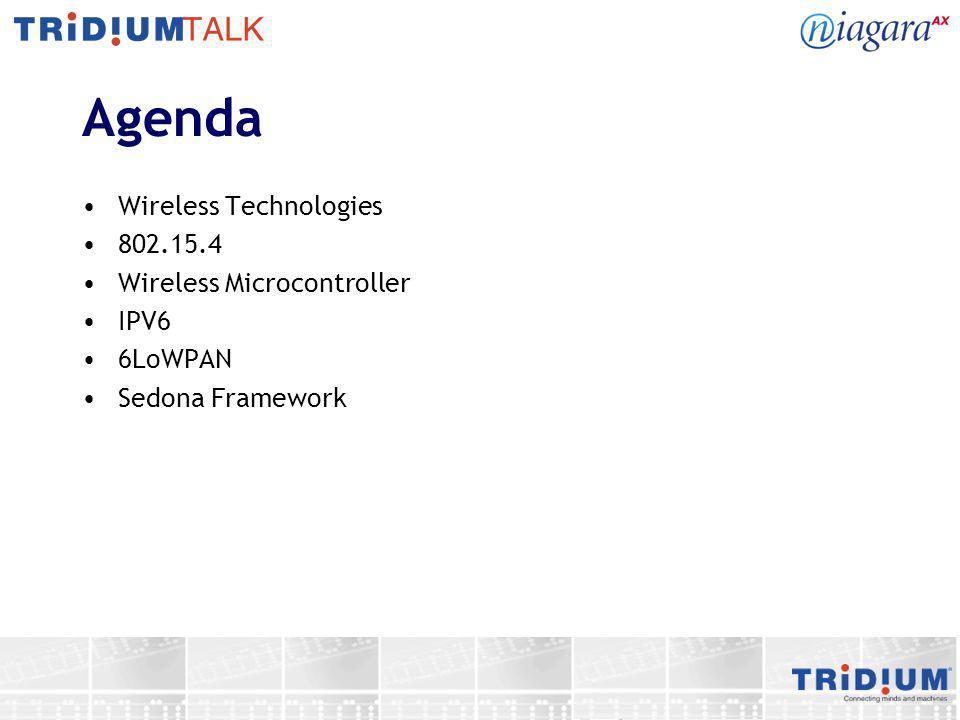 Agenda Wireless Technologies 802.15.4 Wireless Microcontroller IPV6 6LoWPAN Sedona Framework