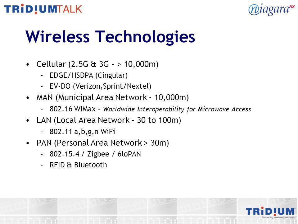 Wireless Technologies Cellular (2.5G & 3G - > 10,000m) –EDGE/HSDPA (Cingular) –EV-DO (Verizon,Sprint/Nextel) MAN (Municipal Area Network - 10,000m) –8
