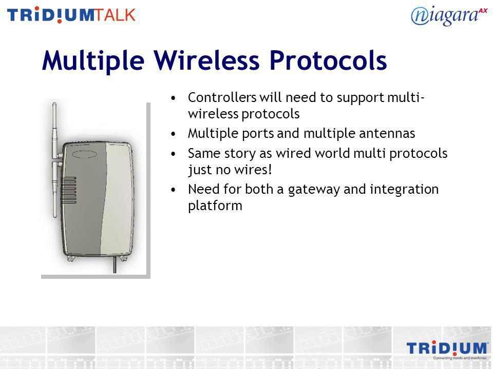 Multiple Wireless Protocols Controllers will need to support multi- wireless protocols Multiple ports and multiple antennas Same story as wired world