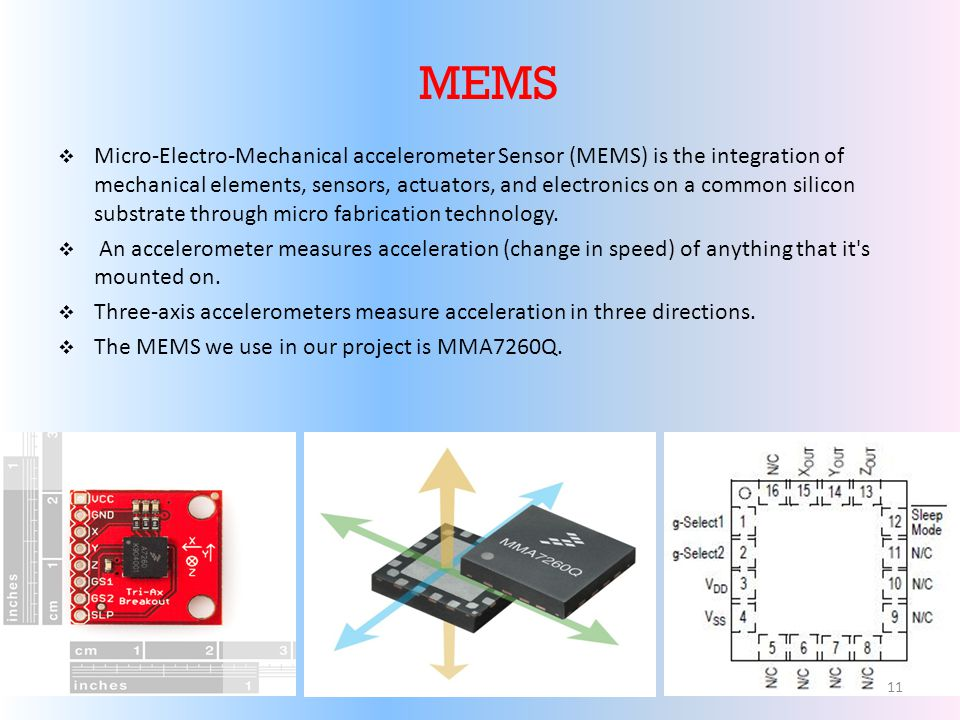 MEMS Micro-Electro-Mechanical accelerometer Sensor (MEMS) is the integration of mechanical elements, sensors, actuators, and electronics on a common silicon substrate through micro fabrication technology.