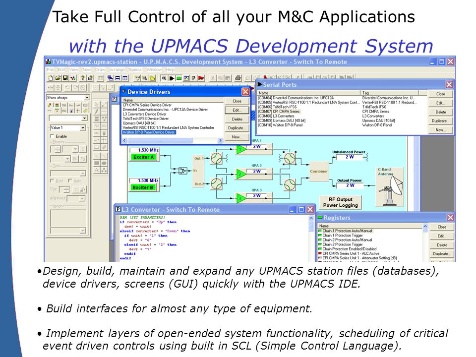 Take Full Control of all your M&C Applications with the UPMACS Development System Design, build, maintain and expand any UPMACS station files (databases), device drivers, screens (GUI) quickly with the UPMACS IDE.