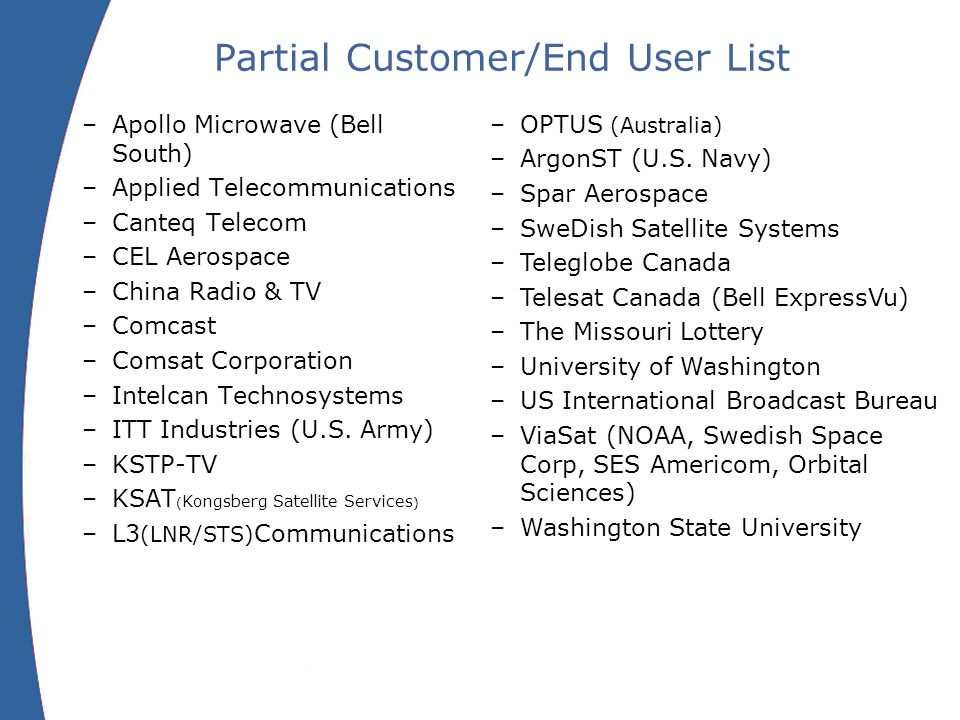 Partial Customer/End User List –Apollo Microwave (Bell South) –Applied Telecommunications –Canteq Telecom –CEL Aerospace –China Radio & TV –Comcast –Comsat Corporation –Intelcan Technosystems –ITT Industries (U.S.