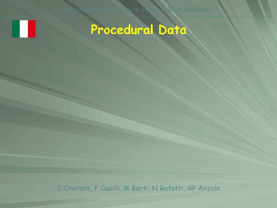 Procedural Data E Onorato, F Casilli, M Berti, N Refatti, GP Anzola Heart & Brain Department, FBF S.Orsola Hospital, Brescia Percutaneous PFO Closure: