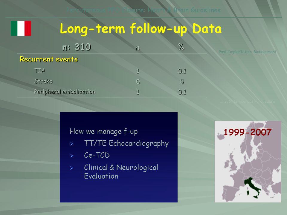 Percutaneous PFO Closure: Heart & Brain Guidelines Long-term follow-up Data Recurrent events TIA10.1 Stroke00 Peripheral embolization 10.1 n % n: 310
