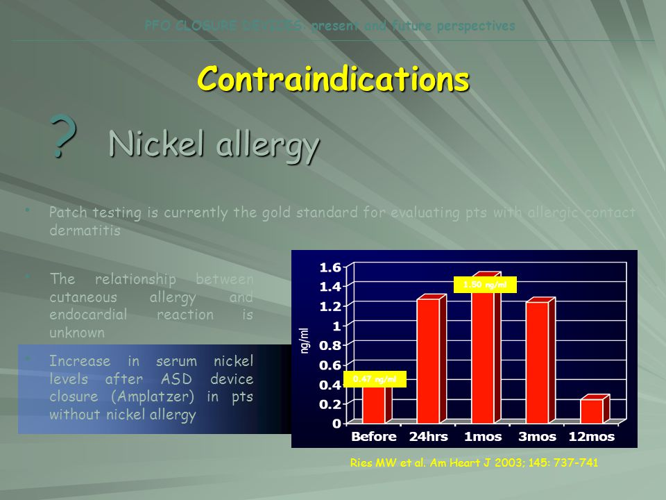 Contraindications ? Nickel allergy Patch testing is currently the gold standard for evaluating pts with allergic contact dermatitis The relationship b