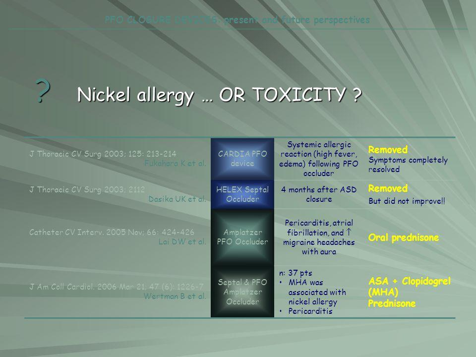 ? Nickel allergy … OR TOXICITY ? J Thoracic CV Surg 2003; 125: 213-214 Fukahara K et al. CARDIA PFO device Systemic allergic reaction (high fever, ede
