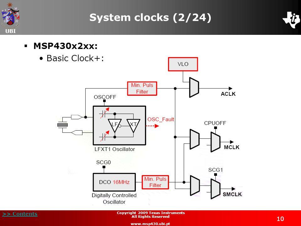 UBI >> Contents 10 Copyright 2009 Texas Instruments All Rights Reserved www.msp430.ubi.pt System clocks (2/24) MSP430x2xx: Basic Clock+: